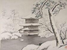 Vintage SHUNCHO SHIOGAI Japanese Golden Pavilion Temple Sumi-e Painting