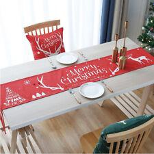 Christmas Dinning Table Setting Festival Antler Red and White Table Runner