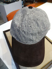 Woolrich Donegal Tweed Brown Suede Baseball Cap Hat Adjustable Winter Lana Wool