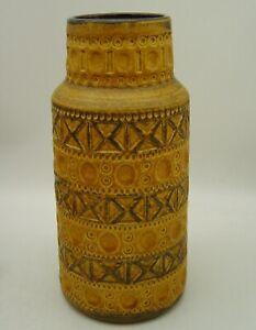 large mid century BAY yellow pottery vase with geometrical pattern Bitossi Era