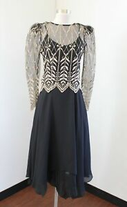 Vtg 80s 90s Cachet Black Embroidered Mesh Asymmetrical Party Evening Dress 5 6