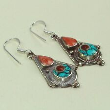 New Arrival Unique Red Coral & Turquoise Tibetan Earring NE-7226