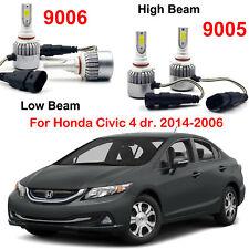 9005 HB3 9006 HB4 LED Headlight Kit Bulbs For Honda Civic 4 dr. 2014-2006