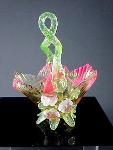 Victorian STEVENS & WILLIAMS Vaseline Art Glass BASKET W/APPLIED FLOWER DESIGN