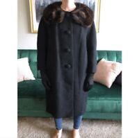 Neusteters Women's Size XL Vintage Black Dress Coat with Fur Collar