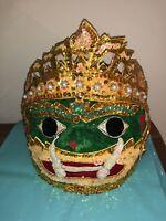Thai Khon Mask Handmade Ramayana Headdress Home Decor Collectible Paper Mache