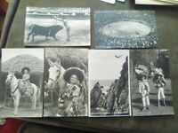 6 Stunning Vintage 1940s Rppc Postcards Of Mexico. Cliff Diving. Bull Fighting.