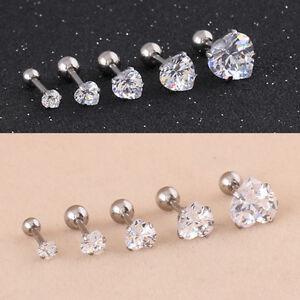 Heart Shaped Cubic Zirconia Stud Earrings Titanium steel Tragus Ear studs E294H