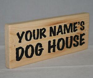 Personalised Name DOG HOUSE Hanging Sign Plaque Puppy Kennel Pet Yard Garage Den