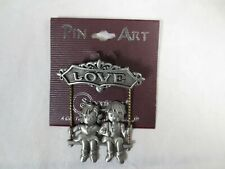 Girl sitting on a Swing ~ Stamped Jj Pewter Spoontiques Pin Art Love Pin ~ Boy &