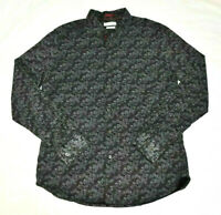 Cactus Man Slim Fit Men's Large Button Front Shirt Floral Black Cotton