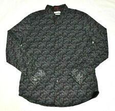 Cactus Man Slim Fit Men's Large Button Front Shirt Floral Black Cotton