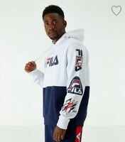 NWT Fila Mens Colorblock Applique Medium Hoodie White Blue Branzino Spell Out