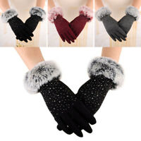 Women Touch Screen Winter Snow Gloves Windproof Warm Sparkle front fur lined