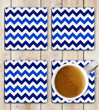 Zigzag Blue & White Drink Coasters x 4