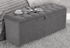 3ft Grey Chenille Downham Chesterfield Buttoned Ottoman Storage Box - RRP £169