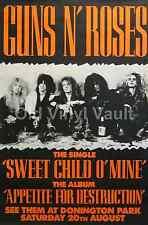 Guns N' Roses Donington Park UK 1988 Concert Poster A3 Repro