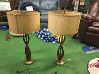 2 Vintage Danish Mid Century Modern Teak Wood Brass Art Table Lamp Eames Era