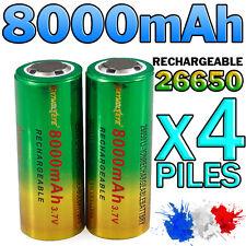 4 PILES ACCU RECHARGEABLE BATTERIE GTF 26650 8000mAh 3.7V Li-ion PUISSANT