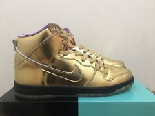"Nike SB Humidity Dunk alta ""trompeta X 'Oro Metálico Qs Talla UK8 US9"