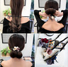 Women Girl Flowers Ribbon Bun Ball Stick Ponytail Holder Hair Band Wrap Tie New