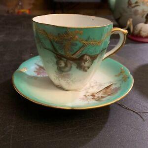 Fischer & Mieg Pirkenhammer Porcelain Cup & Saucer Aesthetic Birds Turquoise