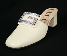 GUCCI $890 NIB Vintage White Leather Crystal G MADELYN Mules 38.5