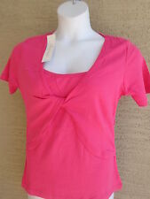 New Being Casual Cotton Knit S/STank & Twist Front  Shrug Twofer Top Fuchsia 3X
