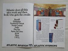 10/1978 PUB ATLANTIC AVIATION INTERIORS BRANIFF PAL KLM VIASA TWA ORIGINAL AD