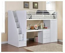 Dakota Single High Sleeper Bed / Painted Bed Frame with Desk / Built In Storage