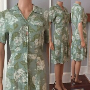 VINTAGE 1950s FLORAL RAYON BEAUTIFUL BUTTON DOWN DRESS ~DOROTHY HUBBs~ XS