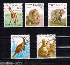 1986 - 5 TIMBRES OBL.**//Animaux divers - LAOS - Yt.685/89