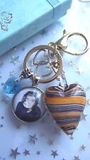 HARRY STYLES  ONE DIRECTION  SOLID DOME  LOVE HEARTS GOLD  KEYRING  GIFT BOXED