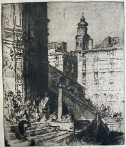 FRANK BRANGWYN (1867-1956) Signed Etching THE RIALTO, VENICE ITALY 1906