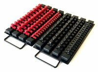 "97pc BLACK RED CLIPS 10-5/8""L SOCKET TRAY HOLDER ORGANIZER 1/4"" 3/8"" 1/2"" RAIL"