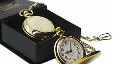 MINI CLASSIC CAR 24k Gold Clad POCKET WATCH & CHAIN Luxury Gift Box Vintage