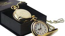 MINI CLASSIC CAR 24k Gold Clad POCKET WATCH & CHAIN Luxury Gift Box Old Shape