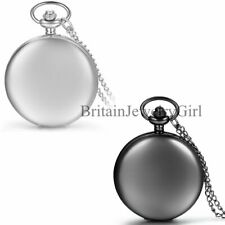 Arabic Numerals Modern Pocket Watch Necklace Mens Smooth Metal Case White Dial