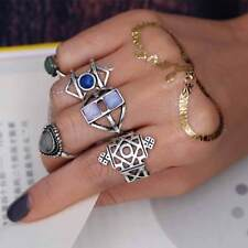 5-Piece Ring Set, Witchy Gypsy Bohemian Boho Hippie Style, Geometric Midi-Rings
