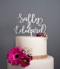 Personalised first names Calligraphy Mr & Mrs Wedding Cake Topper Rose Gold