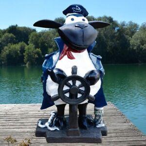 Deko Figur Kapitän Schaf Molly mit Steuerrad Maritim Haus Garten Figur #750