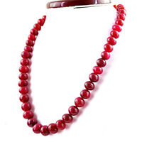 540.00 CTS EARTH MINED SINGLE STRAND RICH RED RUBY ROUND SHAPE BEADS NECKLACE