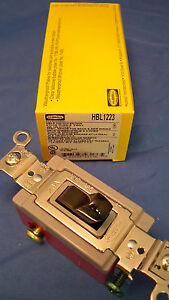 HUBBELL HBL1223 3 WAY TOGGLE SWITCH NYLON 20A 120-277VAC BACK & SIDE WIRED 1X973