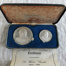 1965 WINSTON CHURCHILL 2x SILVER PROOF MEDAL SET - KOVACS / GREGORY & Co