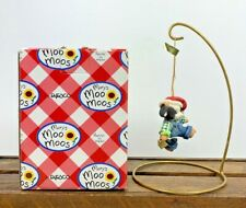 Nos Collectable Mary's Moo Moos Boy Cow With Bell Santa Hat Ornament