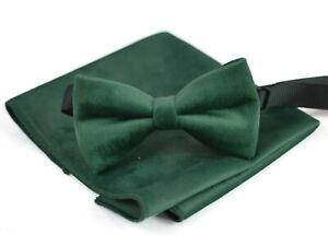 Emerald Green Velvet Bow tie + Pocket Square  Hanky for Men / Youth / Boys Kids