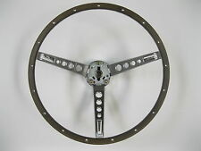 New 1965 66 Ford Mustang Deluxe Woodgrain Steering Wheel Assembly pony