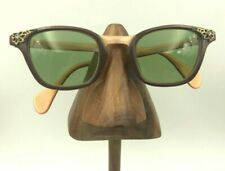 Vintage Pearl Brown Peach Horn-Rimmed Oval Sunglasses Eyeglasses Frames