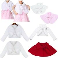 Kids Baby Girls Princess Flower Dress Bolero Shrug Cardigan Jacket Cape Coat