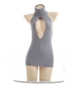 US Sexy Women Girl Virgin Killer Turtleneck Sleeveless Pullover Backless Sweater